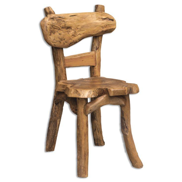 Этот необычный, оригинальный стул изготовлен из 100% мелиорированной древесины тикового дерева и показывает всё великолепие натурального дерева. Чудесно подойдет для загороднего дома или веранды. Каждый стул этой модели уникален.             Метки: Кухонные стулья.              Материал: Дерево.              Бренд: Uttermost.              Стили: Прованс и кантри.              Цвета: Коричневый.