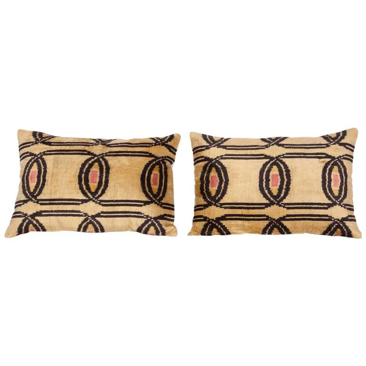 Pillow Cases Fashioned Out of Contemporary Uzbek Silk Velvet Ikats | From a unique collection of antique and modern central asian rugs at https://www.1stdibs.com/furniture/rugs-carpets/central-asian-rugs/