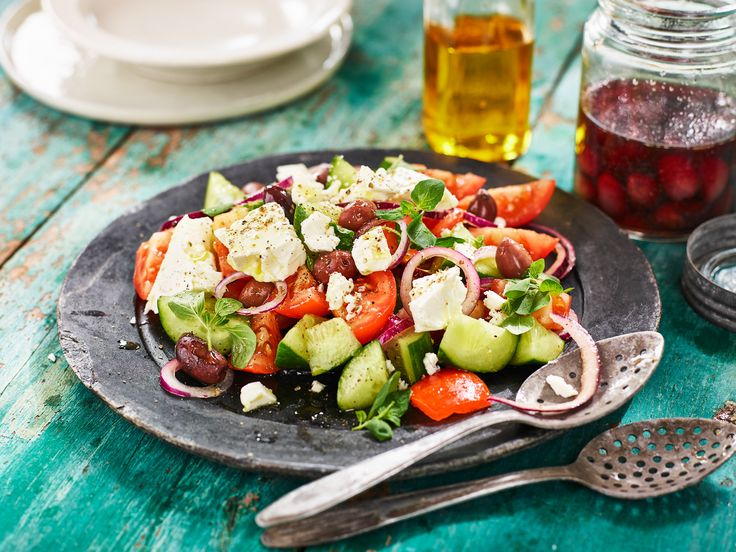 Traditional Greek Salad with fresh oregano and white cheese cubes