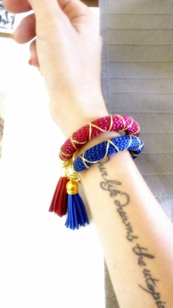 2 Bracelets set double queen from cotton rope with by bizeli