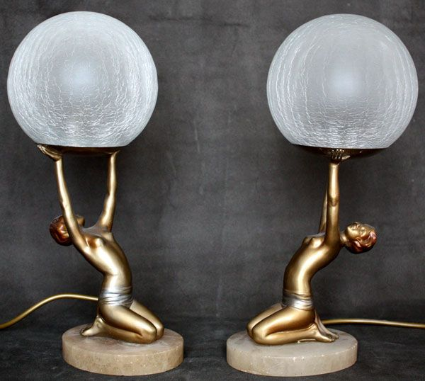 A pair of art deco spelter figure lamps circa 1930 germany the semi