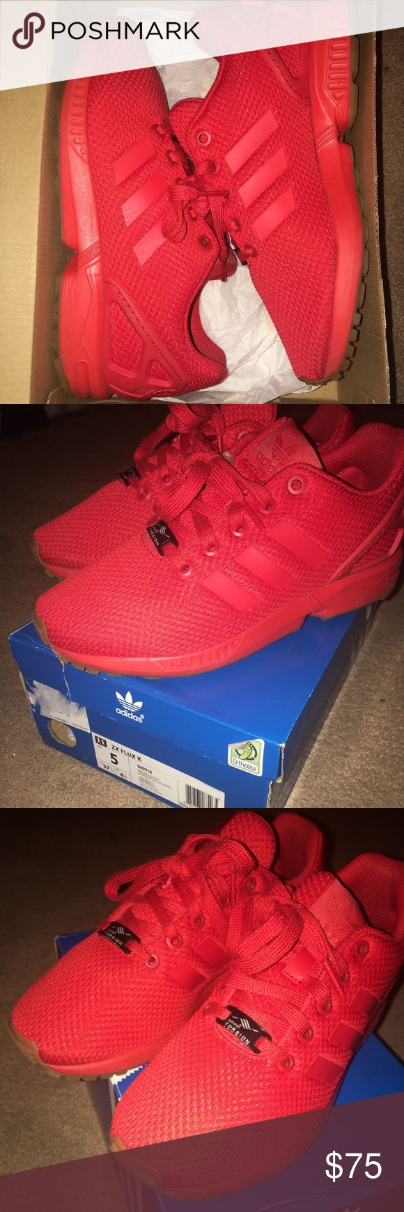 Adidas All red adidas ZX flux. Size 5 in kids, 7 in women. Condition:9 no scuffs or marks. Really comfy shoes. Comes with the original box.No trades. adidas Shoes Sneakers