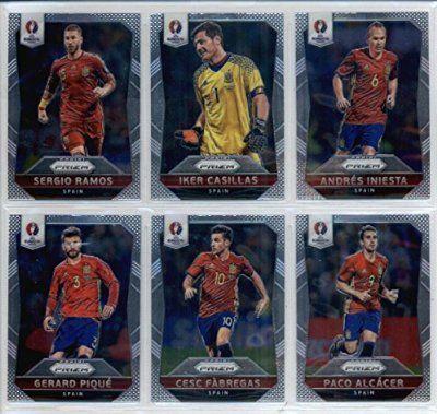 2016 Panini Prizm UEFA Euro '16 Spain Team Set of 11 Cards: Andres Iniesta(#33), Iker Casillas(#34), Sergio Ramos(#35), Paco Alcacer(#36), Cesc Fabregas(#37), Gerard Pique(#38), Sergio Busquets(#39), David Silva(#40), Santi Cazorla(#41), Diego Costa(#42),