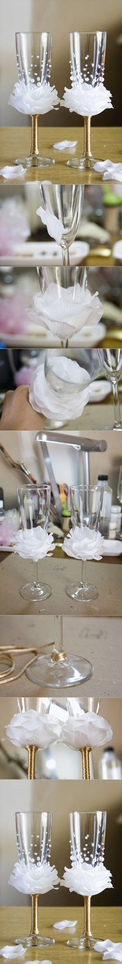 DIY Flower Bead Decorated Wine Glasses. These would be perfect for a wedding…