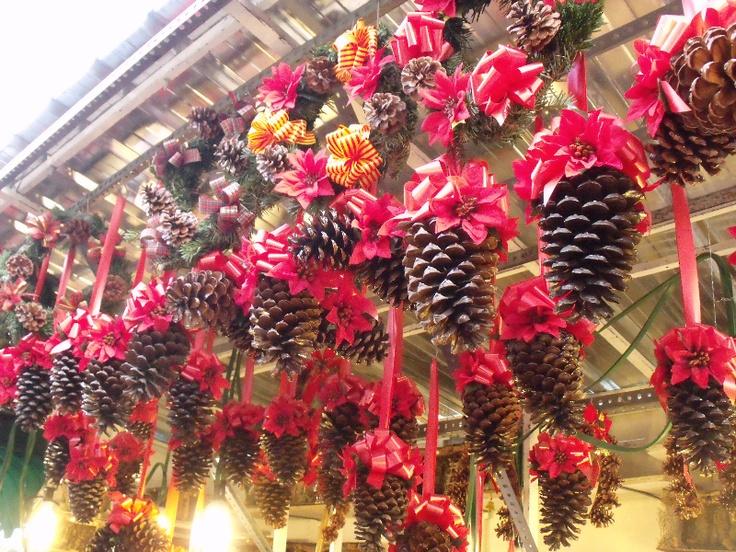 Pi as barnizadas y decoradas con un lazo rojo sencillo pero result n manualidades para - Pinas decoradas para navidad ...
