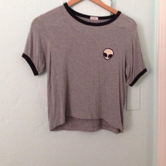 Grey alien shirt Black outline with alien patch Brandy Melville Tops
