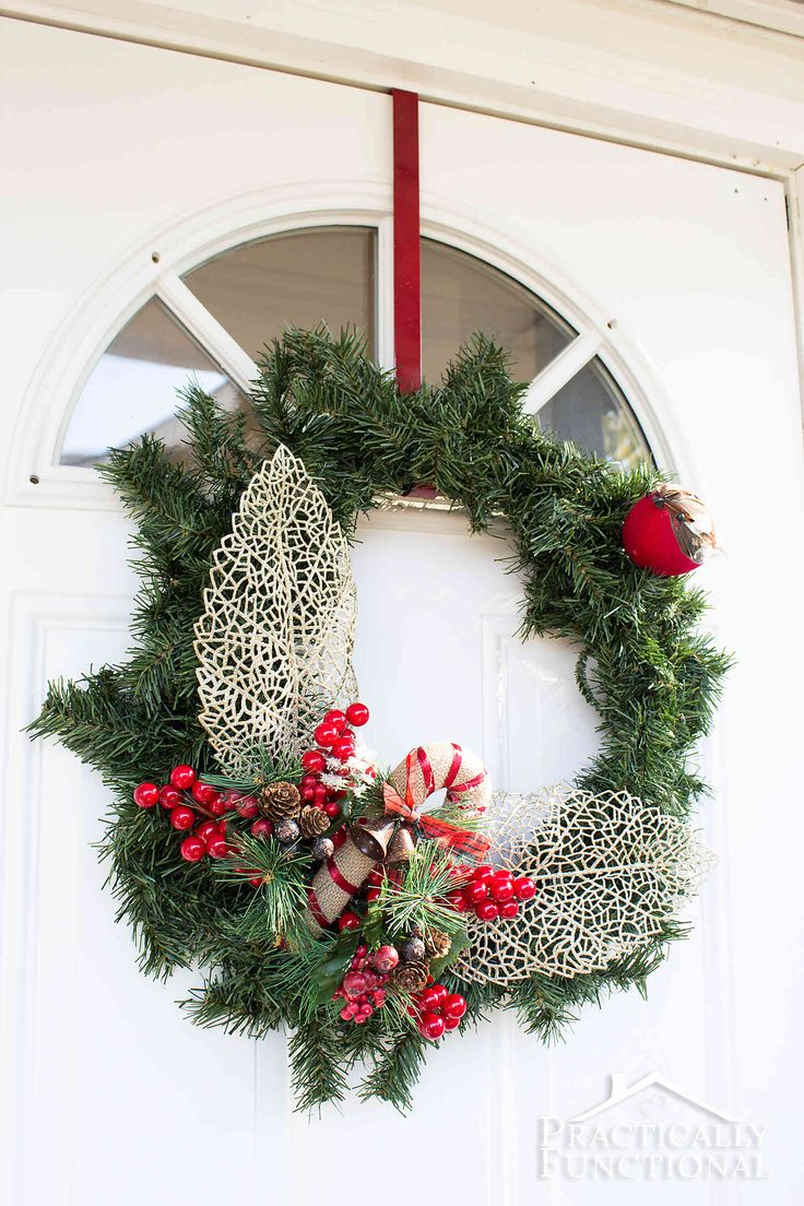 282 best holiday home decorating ideas images on pinterest diy winter greenery wreath simple diyholiday decoratingdiy christmasfront doorswreaths