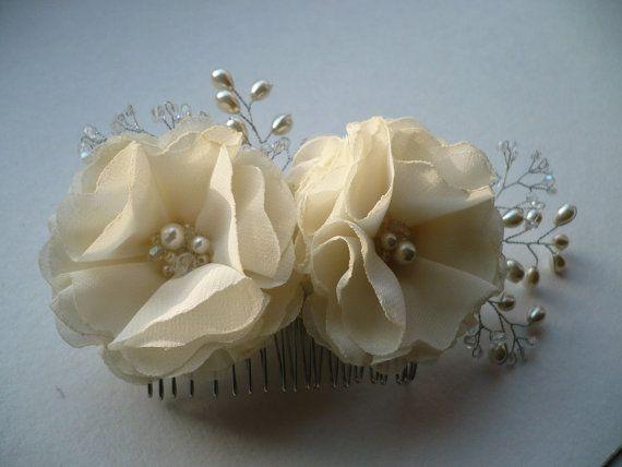 hermosas flores de tela de gasa marfil decoracin con perlas de vidrio y claro abalorios