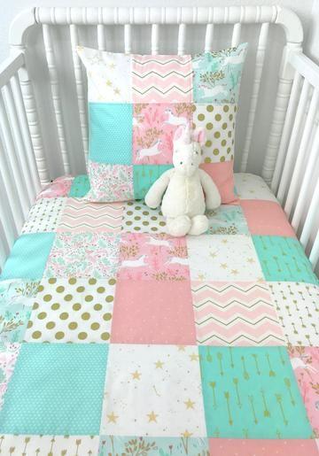 Blush And Mint Unicorn Baby Blanket Baby Crib Bedding Unicorns
