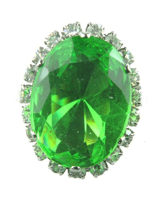 Peridot green diamante adjustable ring available in other colours from WWW.GlitzyGlamour.co.uk