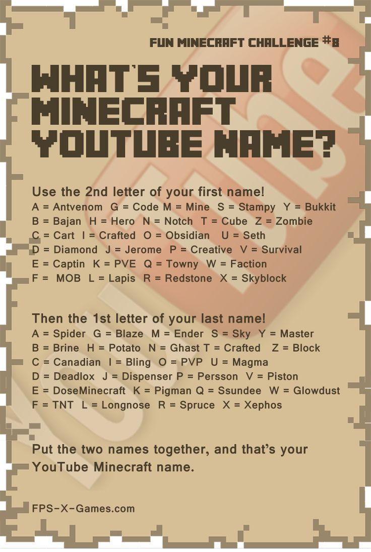 Fun Minecraft Challenge No8 - What's your YouTube Name? #minecraft #funminecraftchallenge #youtube