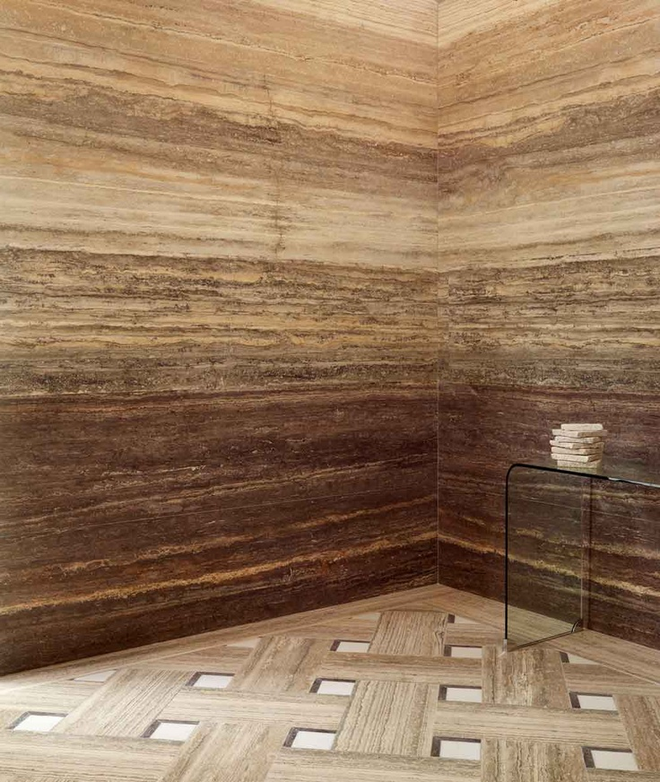 These vein cut travertine walls add such depth and texture to any room, perfect and widely used for shower walls.