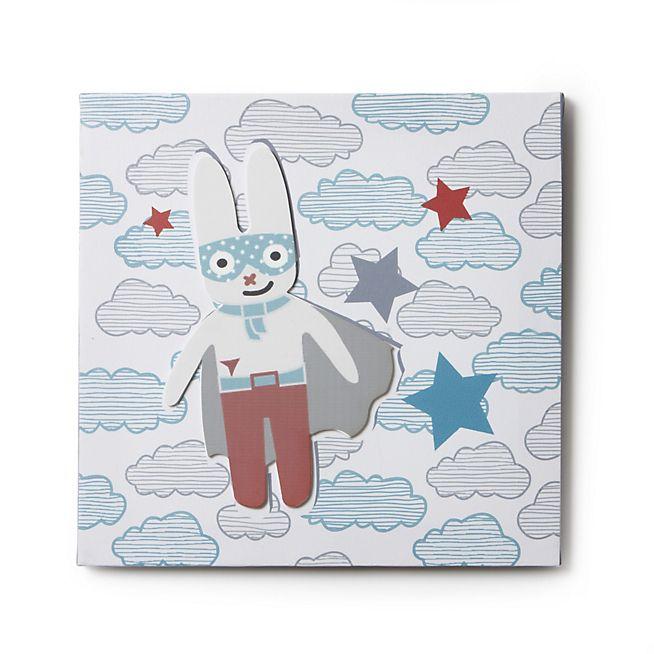 Super héros Toile décorative imprimée carrée 30x30cm pour enfant