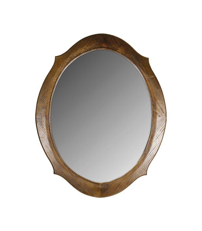 Espelho oval com moldura de madeira marrom