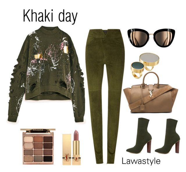 """""""Khaki day"""" by lawastyle on Polyvore featuring Isabel Marant, Yves Saint Laurent, Steve Madden, Marni and Stila"""