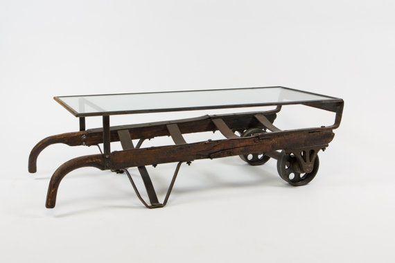 Vintage hand truck coffee table van ideacustomfurniture op for Furniture hand truck