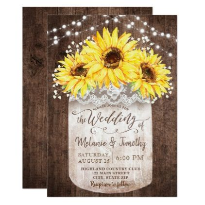 Rustic Jar Sunflower Wood Wedding Invitations  $2.01  by YourMainEvent  - custom gift idea
