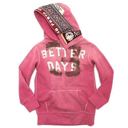 DENIM DUNGAREE(デニム&ダンガリー):ビンテージ裏毛BETTER DAYS パーカー 56DP濃ピンク の通販【ブランド子供服のミリバール】