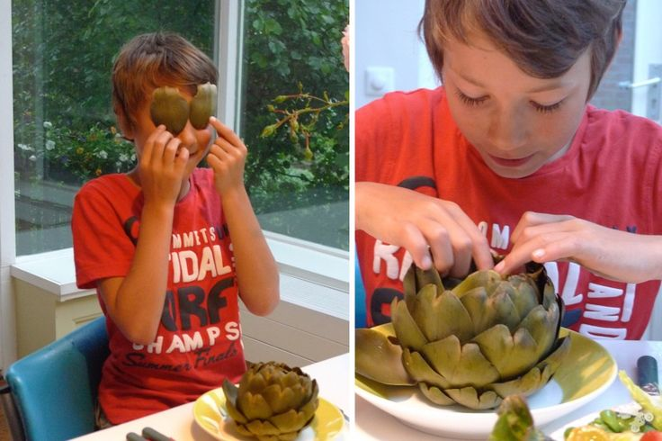 Recept voor artisjokken & vinaigrette. Verleid je kids met dit knutsel-klooifood!