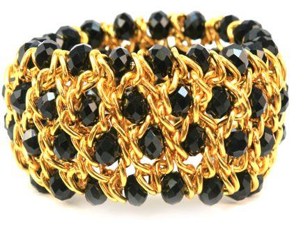 pulsera dorada con negro  / Joyería / Moda femenina / Accesorios para mujer