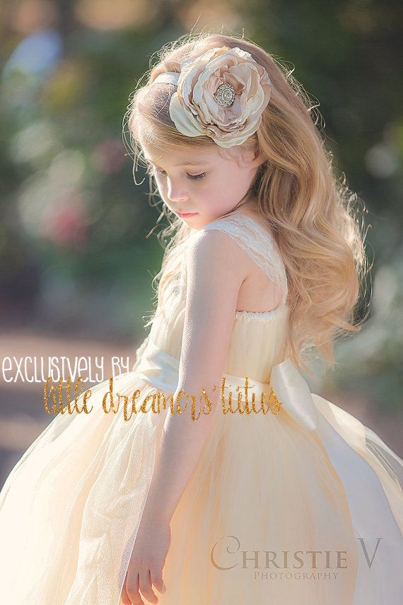 Ivory Champagne Flower Girl Tutu Dress with by littledreamersinc