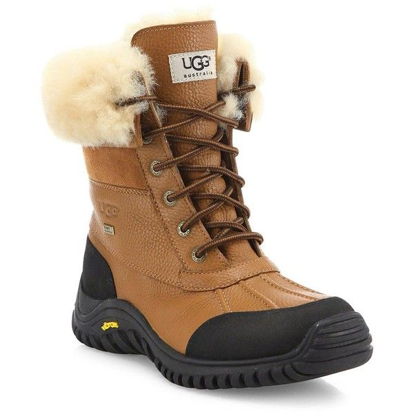 UGG Adirondack II Lace-Up Shearling-Lined Leather Boots ($225) ❤ liked on Polyvore featuring shoes, boots, laced up boots, real leather boots, genuine leather boots, water proof boots and ugg boots