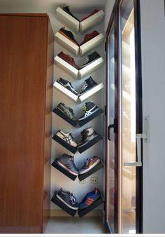 Ikea Hack - Arrange Lack Shelves in a V Shape   22 Easy Shoe Organization Ideas for the Home