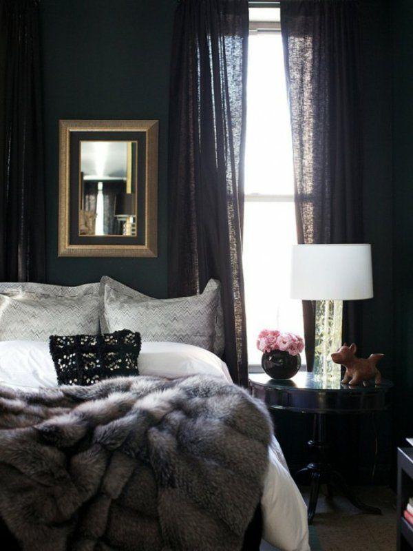 schlafzimmer skandinavisch einrichten felldecke pelzdecke skandinavische wohnaccessoires