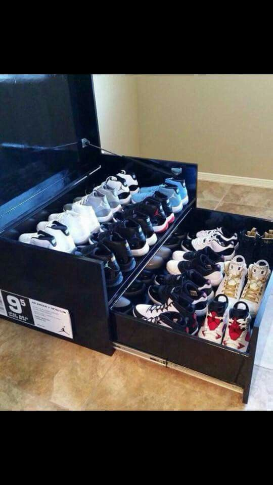 Custom sneaker rack looks like it's made from an Ikea dresser! Could be an easy diy