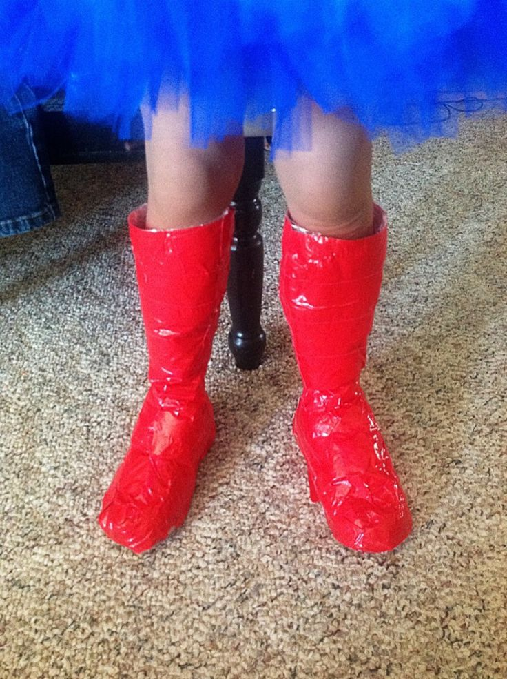 DIY super hero boot covers w/duct tape - genius!
