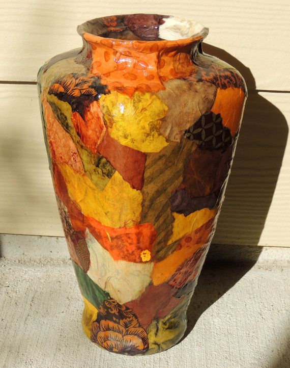 Colorful Lokta Paper Decoupage On Large Glass Vase By Cutelittlecanvases 40 00