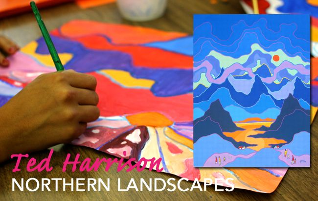 Ted Harrison's Northern Landscape art lesson. Group of Seven art project for kids