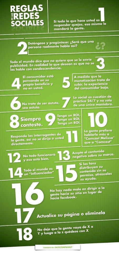 Reglas de las Redes Sociales #infografia #infographic #socialmedia