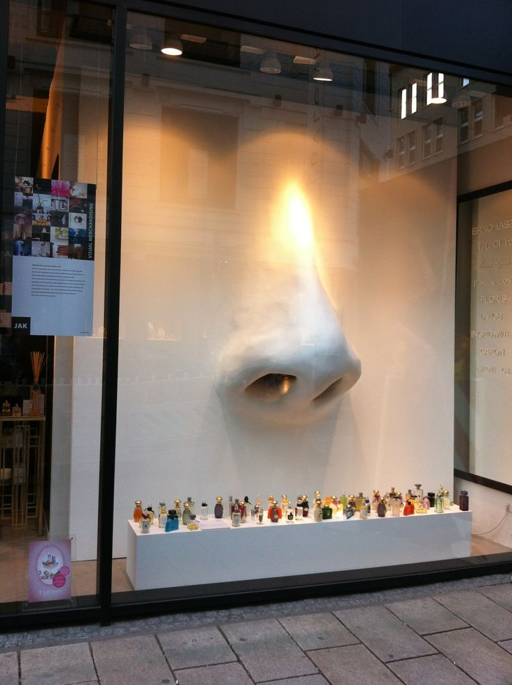 Window at Sahling Perfumes, Poststrasse, Hamburg. Visual Merchandising by Students of Academy JAK