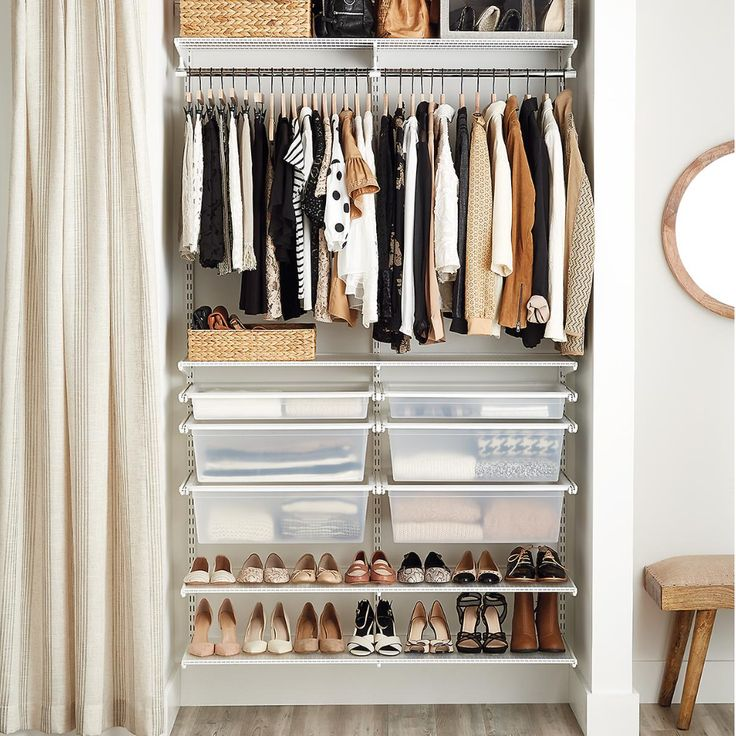 Available Only At The Container Store This White Elfa 4 Reach In Closet Provides Room For Short Hanging Garments Ventilated Shelves Storing And