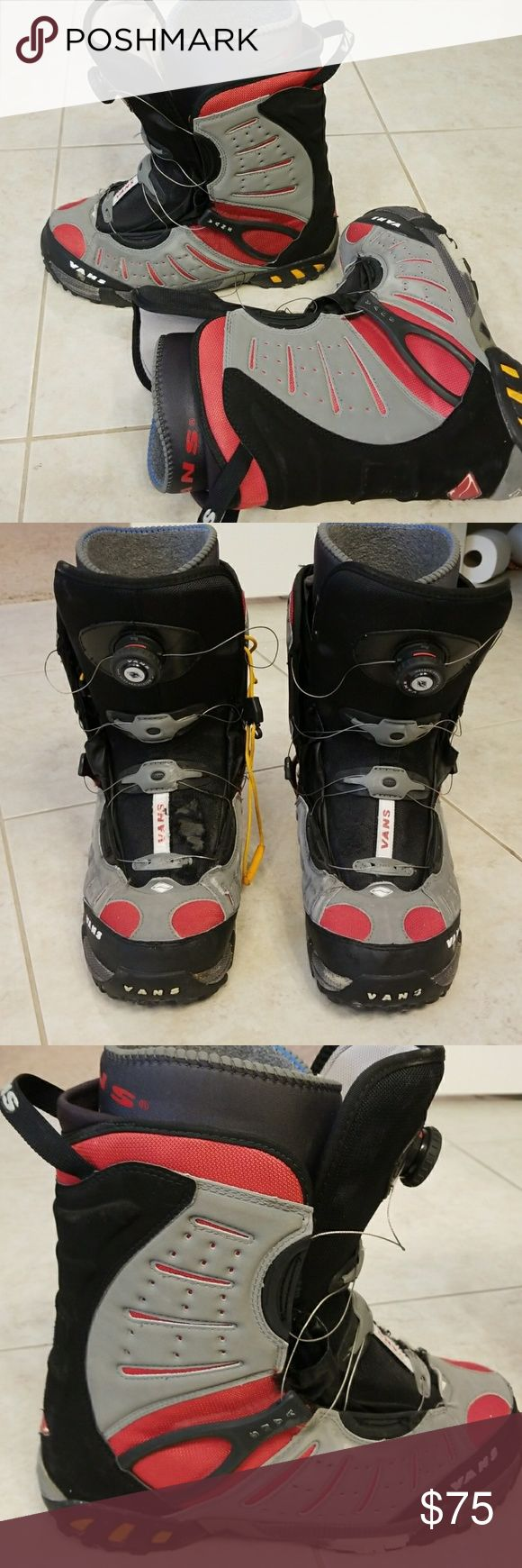 Vans Men's Snowboarding Boots Vans back grey and red men's snowboarding boys.  Definitely worn condition as seen in pics above.  Still a lot of wear in them.  Would be great for a new snowboarder. Size 12 Vans Shoes Boots