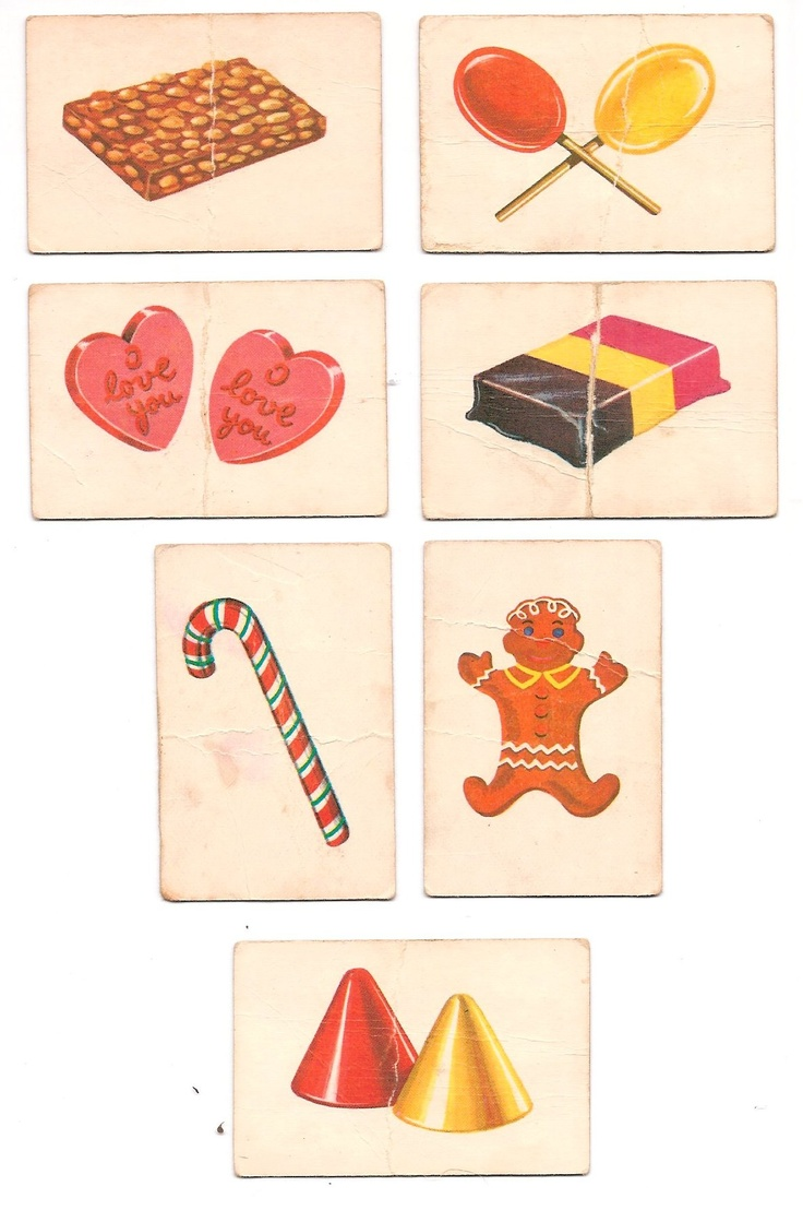 """YES! ~ 1955 - 1962 """"CandyLand"""" board game cards: Peanut Brittle House, Lolipop Woods, Candy Hearts, Ice Cream Floats, Peppermint Stick Forest, Gingerbread Plum Tree, Gumdrop Mountains. Molasses Swamp card missing."""