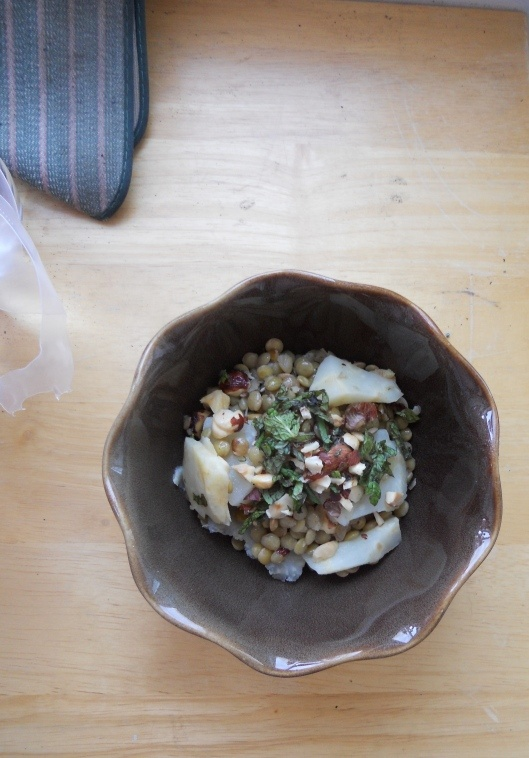 Nuanced vegetarian dish -- lentils, celery root, and hazelnuts