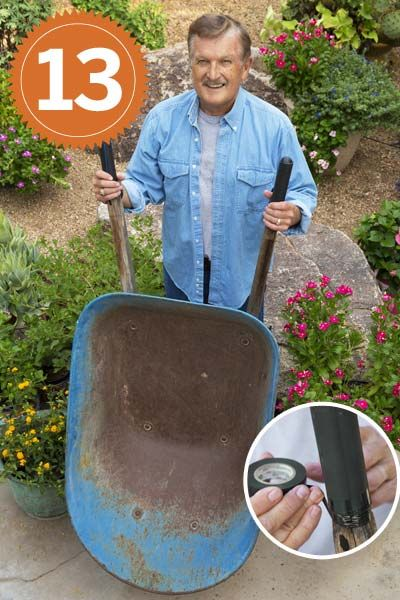 TOh reader Guy Parish's wheelbarrow handles were worn and full of splinters, so he covered them with discarded inner tubes from the bike shop. Then he dressed the ends of the handles with liquid electrical tape and secured the grips with regular electrical tape. Easy!