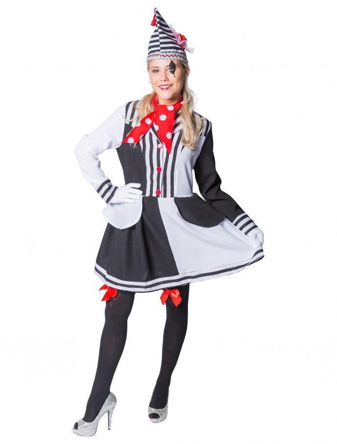 Kleid Pantomime Deluxe Schwarz Weiss 2 Tlg Fur Karneval Fasching