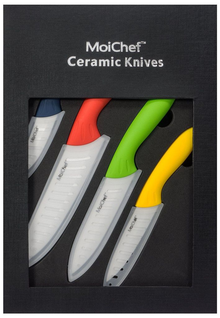 Moichef© 8-Piece Premium Ceramic Knife Set - 4 Color Best Kitchen Knives with White Sheaths in Gift Box