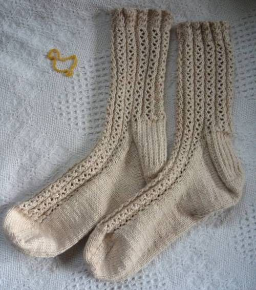 Lace Rib Socks - Classic Elite Nature's Cotton
