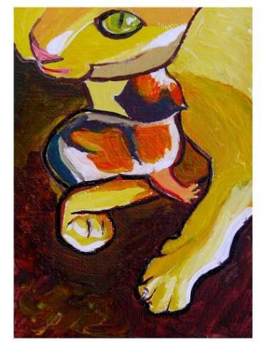 "Saatchi Art Artist Elisabeta Vlad; Painting, ""Cat and kitten"" #art"