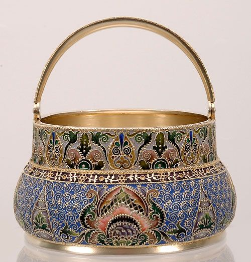 Russian silver-gilt Pan-Slavic style shaded cloisonné enamel basket, retailed by Orest Kurlyukov, likely made by Feodor Ruckert - Moscow, c1910