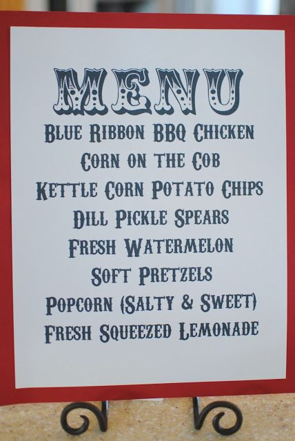 Menu For A County Fair Themed Party Plus Decorations