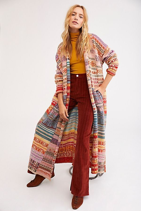 ddf2dc13bfbc Met Your Match Sweater Coat - Multicolored Rainbow Knit Sweater Cardigan -  Long Line Rainbow Cardigan - Long Line Cardigans - Long Cardigans -  Colorful ...