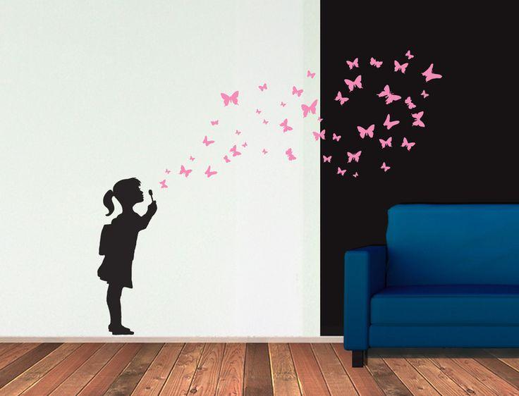 Wandsticker Mädchen Mit Schmetterlingen BUTTERFLY GIRL   Ein Designerstück  Von UrbanARTBerlin Bei DaWanda