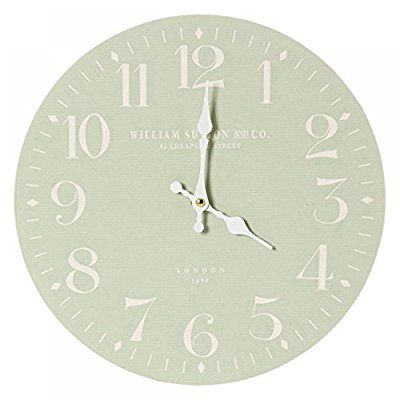 Large Classic Style William Sutton Wall Clock In Sage