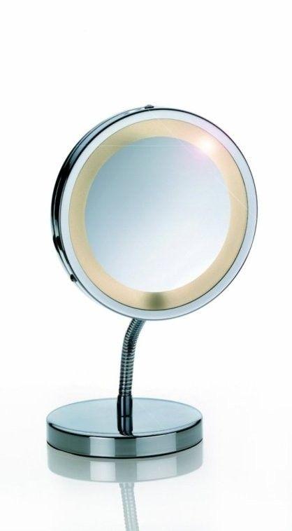 Dieser Kosmetikspiegel ist für die gepflegte Frau und den gepflegten Mann von heute einfach unverzichtbar!  Durch den verstellbaren Standfuß lässt sich der Spiegel in Ihre gewünschte Position biegen.  Der Standspiegel ist 3-fach vergrößernd und kann für eine noch bessere Sicht batteriebetrieben beleuchtet werden. Die Batterien sind nicht im Lieferumfang enthalten. #Spiegel #standspiegel #kela #moebelpower #moebeltraeume #schminkspiegel #badspiegel