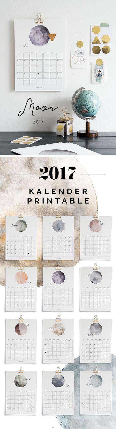 Printable Kalender | Watercolor | Moon | Calendar 2017 – via sodapop-design.de